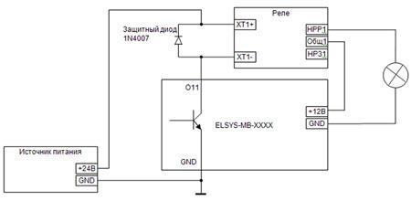 Схема подключения реле к выходу типа открытый коллектор